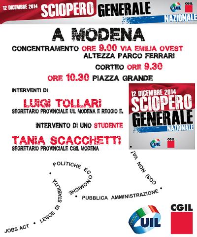 sciopero generale 12 dicembre 2014 a Modena: concentramento, corteo, comizio – banner centrale